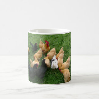 Flock of Roosters Hens Chickens Basic White Mug
