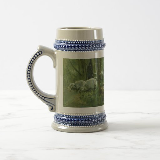 Flock of sheep in a forest, Anton Mauve Coffee Mug