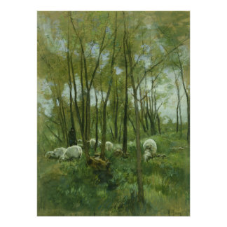 Flock of sheep in a forest, Anton Mauve Posters