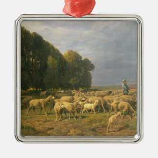 Flock of Sheep in a Landscape Christmas Ornament