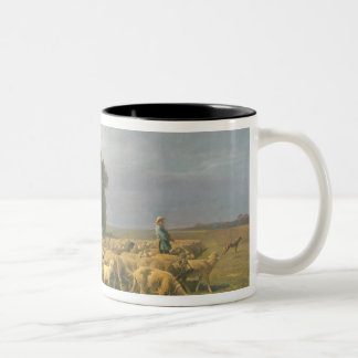 Flock of Sheep in a Landscape Two-Tone Coffee Mug