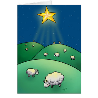 Flock of sheep under Christmas Star Greeting Card