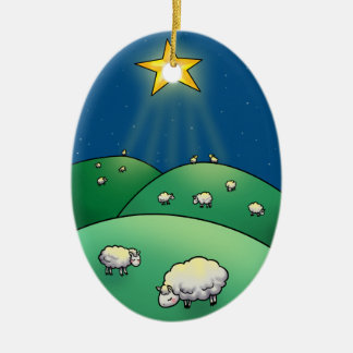 Flock of Sheep under Christmas Star Christmas Ornament