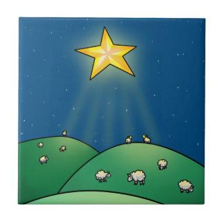 Flock of Sheep under Christmas Star Ceramic Tiles