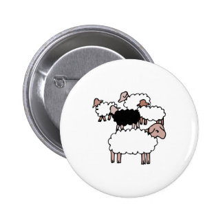 flock of sheep with black sheep 6 cm round badge