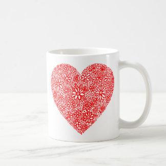 Flocked Heart Basic White Mug