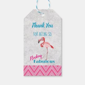 Flocking Fabulous Pun w/ Pink Flamingo Thank You Gift Tags