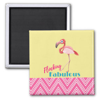 Flocking Fabulous Typography w/ Pink Flamingo Magnet