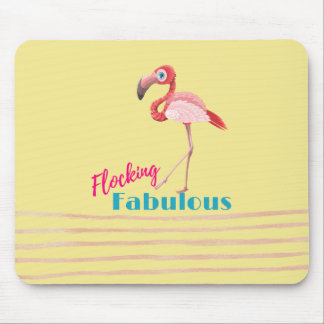 Flocking Fabulous Typography w/ Pink Flamingo Mouse Mat