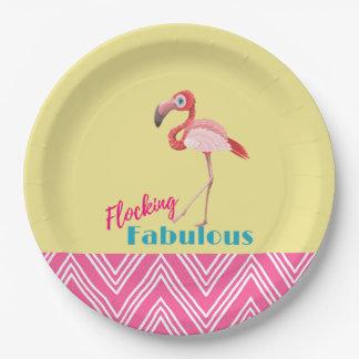 Flocking Fabulous Typography w/ Pink Flamingo Paper Plate