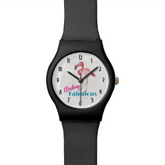 Flocking Fabulous Typography w/ Pink Flamingo Watch