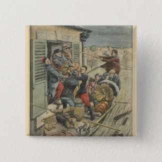 Floods, rescuing a paralytic 15 cm square badge
