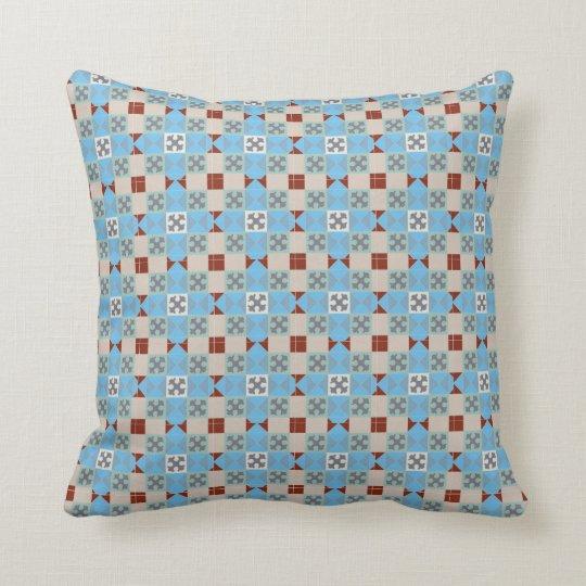 Floor tile blue grey patterned cushion