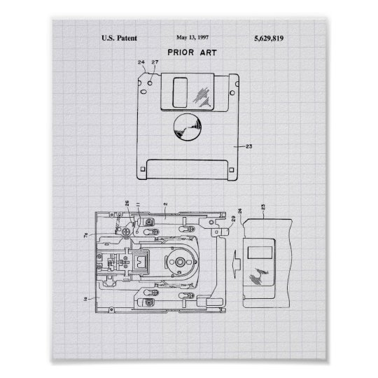 Floppy Disc 1997 Patent Art - Lined Peper