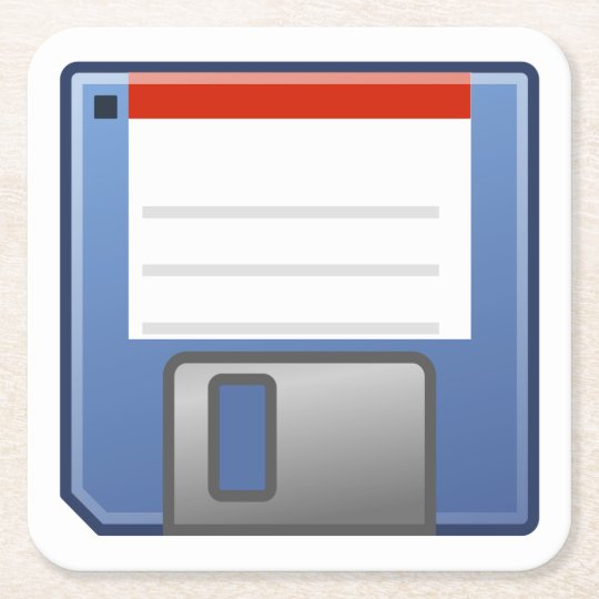 Floppy Disc Icon Square Paper Coaster