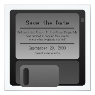 Floppy Disc Save the Date Announcement, Gray 13 Cm X 13 Cm Square Invitation Card