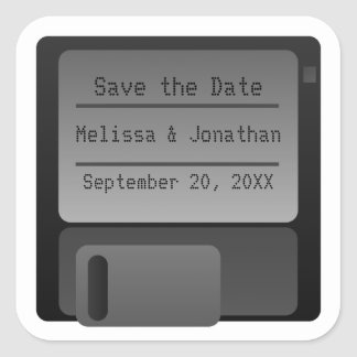 Floppy Disc Save the Date Stickers, Gray Square Sticker