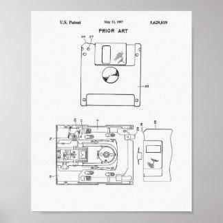 Floppy Disk 1997 Patent Art - White Paper Poster