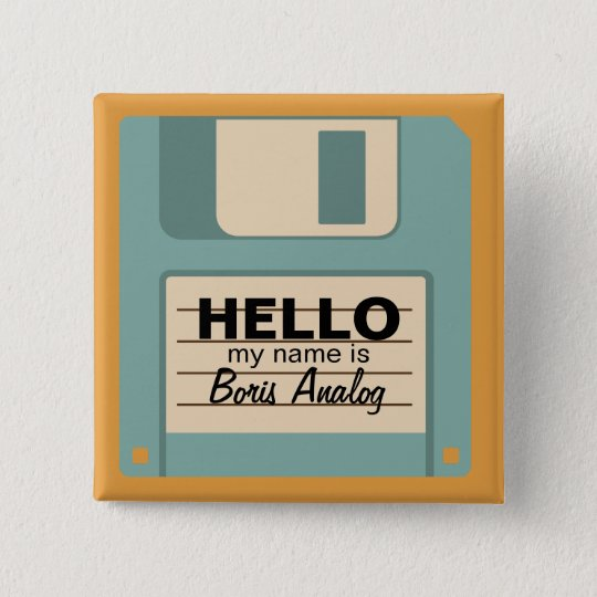 Floppy Diskette Personalised Name Badge