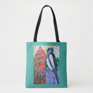 Flora and Fauna Magpie Flowers Tote Bag