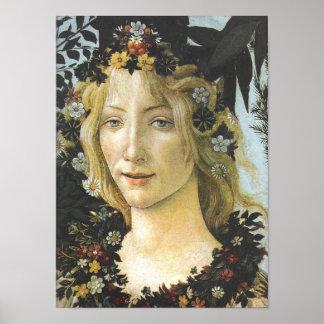 Flora (detail of Primavera), Botticelli Fine Art Poster