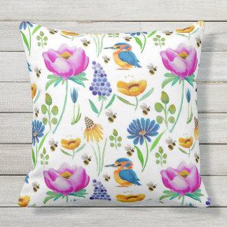 Flora & Fauna Watercolour Outdoor Cushion