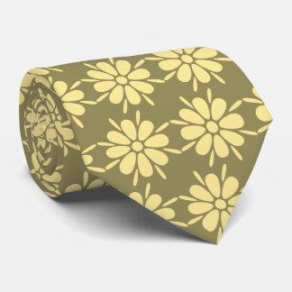 Flora Foulard Flower Khaki & Yellow Two-sided Tie