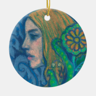 Flora, girl's profile, floral, flowers, blue green round ceramic decoration