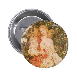 Flora, Goddess of Blossoms and Flowers by Morgan 6 Cm Round Badge