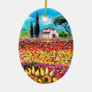 FLORA IN TUSCANY/ Fields ,Poppies and Sunflowers Ceramic Oval Decoration