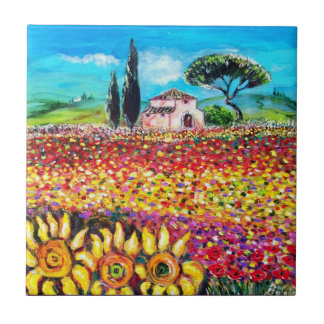 FLORA IN TUSCANY/ Fields ,Poppies and Sunflowers Tile