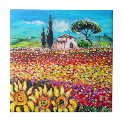 FLORA IN TUSCANY/ Fields ,Poppies and Sunflowers Tiles