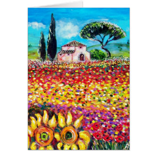 FLORA IN TUSCANY Poppies and Sunflowers Card