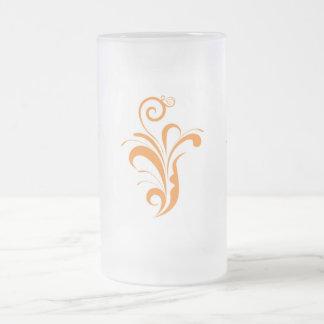 Flora Orange Frosted Glass Mug