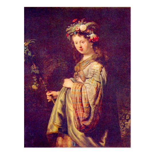 Flora (portrait of Saskia as Flora) by Rembrandt Postcard