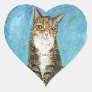 Flora the cat heart sticker
