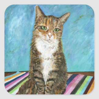 Flora the cat square sticker