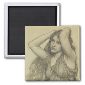 Flora with Long Hair Square Magnet