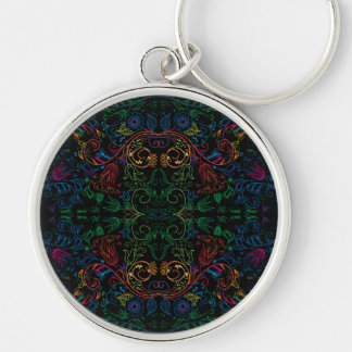 Floradore - Black Silver-Colored Round Key Ring