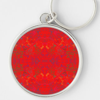 Floradore - Red Silver-Colored Round Key Ring