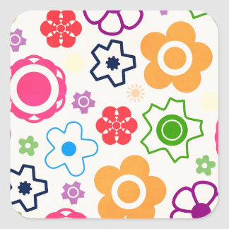 floral16 BRIGHT SUMMER FLOWERS COLORFUL PATTERN BA Square Sticker