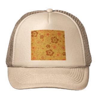 FLORAL17 RETRO ORANGES TAN BURNT DISTRESSED TEXTUR MESH HATS