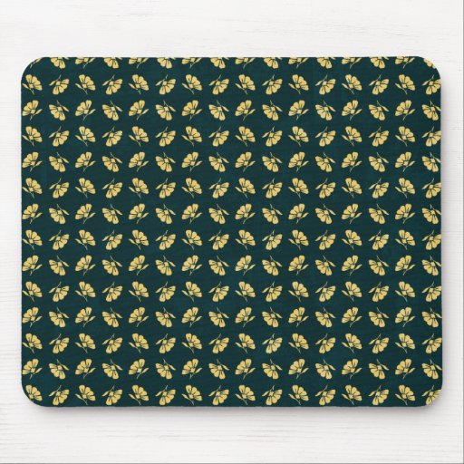 FLORAL56 NAVY CREAM GREEN FLORAL FLOWER PATTERN TE MOUSE PADS