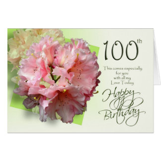 Floral 100th Birthday Congratulations Card
