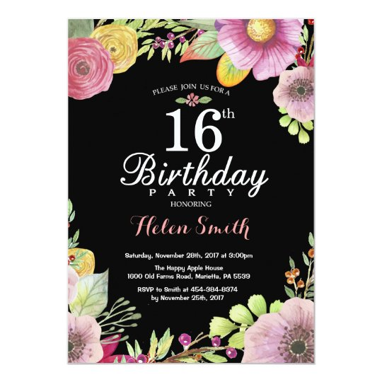 Floral 16th Birthday Invitation for Women