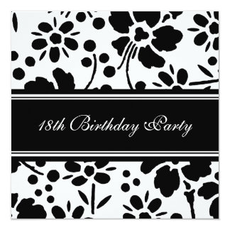 "Floral 18th Birthday Party Invitations 5.25"" Square Invitation Card"
