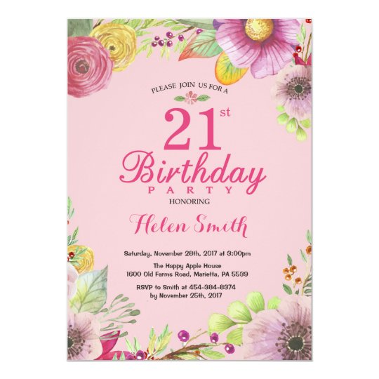Floral 21st Birthday Invitation for Women Pink