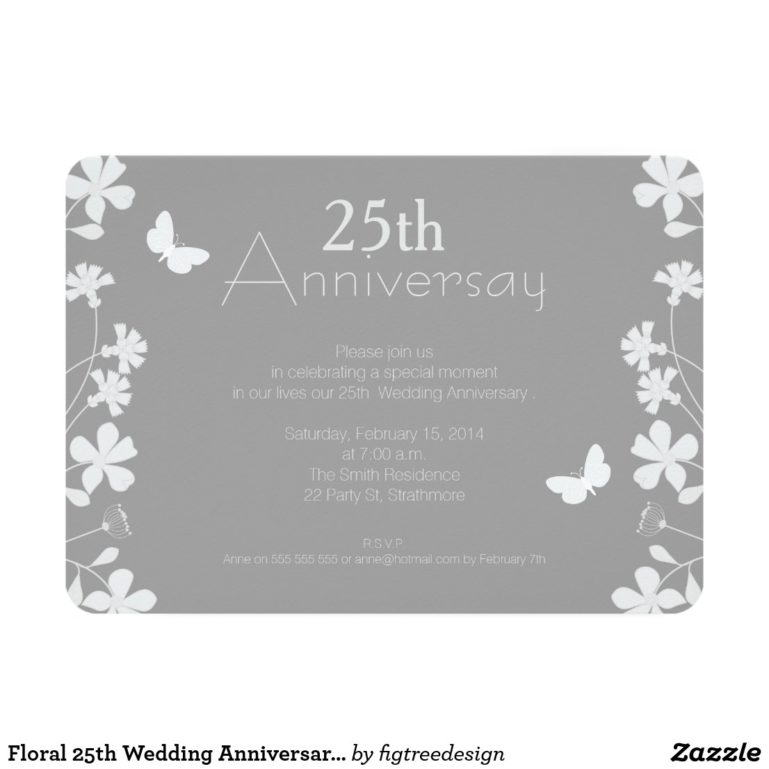 Floral 25th Wedding Anniversary Invitation