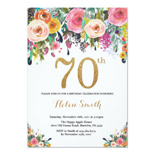 Floral 70th Birthday Invitation Gold Glitter