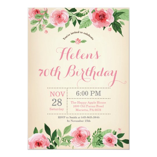 Floral 70th Birthday Invitation Pink Watercolor